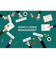 supply chain management team work together on top vector image
