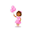 sweet happy african american girl with pink vector image vector image