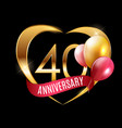 template gold logo 40 years anniversary with vector image vector image