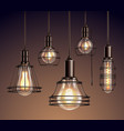 vintage light bulbs realistic set vector image