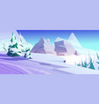 winter mountains northern nature rocky landscape vector image