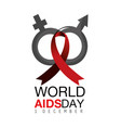 woman and man aids prevention and ribbon vector image