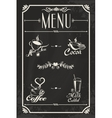 Restaurant drink menu design with chalkboard vector image
