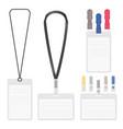 badge clip and lanyard templates vector image