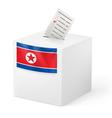 Ballot box with voting paper North Korea vector image