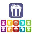 box of popcorn icons set vector image vector image