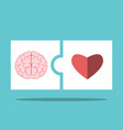 brain heart puzzle pieces vector image vector image