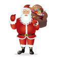 cartoon santa claus show ok christmas vector image