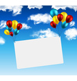 Celebrate card background with balloons vector image vector image