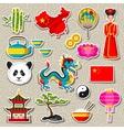 china icons set chinese sticker symbols vector image