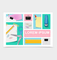 colorful stationery collection vector image vector image