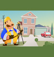 contractor standing in front of a house vector image
