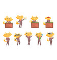 cute businessman fox character at work and rest vector image vector image