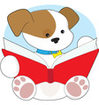 cute puppy reading vector image vector image