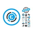 Euro Financial Diagram Flat Icon with Bonus vector image vector image