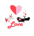 festive greeting card with loving cats and a dog vector image vector image