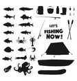 fishing equipment and sea animal silhouettes vector image