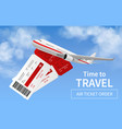 flights banner realistic airplane in sky vector image vector image