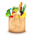 food in paper bag isolated on white vector image vector image