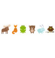 forest animal set line bear hare rabbit fox moose vector image
