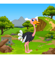funny ostrich cartoon with mountain cliff vector image vector image