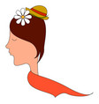 girl with flower in hair on white background vector image vector image