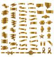 golden ribbon set in white background vector image vector image