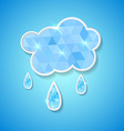 hexagonal cloud with rain drops vector image