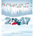 holiday background with 2017 and garland vector image vector image