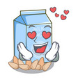 in love almond milk in the cartoon bottle vector image vector image