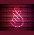 k-pop neon sign sign finger heart with vector image vector image