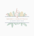 merry christmas greeting card or label frame vector image vector image