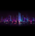 metropolis night background neon cartoon vector image vector image