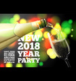 new year banner with transparent champagne glass vector image vector image