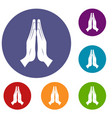 prayer icons set vector image vector image