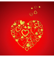 red Valentines Day Card with gold hearts vector image