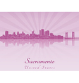 Sacramento skyline in purple radiant orchid vector image vector image