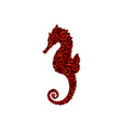 seahorse aquatic spiral pattern color silhouette vector image