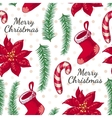 Seamless pattern with boots candy and Christmas vector image