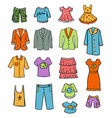 sketch colored family wardrobe elements set vector image