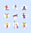 sport characters healthy lifestyle people making vector image vector image