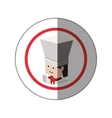 sticker lego with portrait male chef vector image