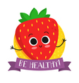 Strawberry cute fruit character badge vector image vector image