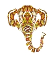 Stylized colorful elephant portrait art on white vector image vector image