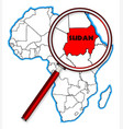 sudan under a magnifying glass vector image vector image