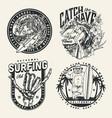 surfing vintage monochrome emblems vector image