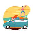 travel car hello summer vacation trip retro vector image vector image