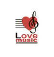 treble clef with heart vector image vector image