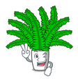 two finger beautiful cartoon ferns in green vector image