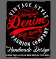 typography vintage denim brand logo print for vector image